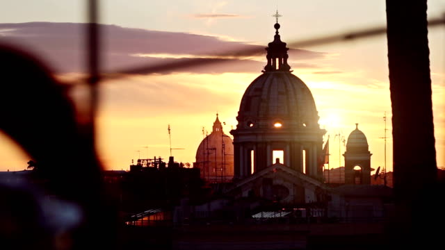 rome dome from pincio hill - italian architecture stock videos & royalty-free footage