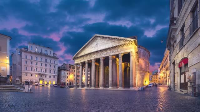 rom, italien. vidvinkelvy över pantheon i skymningen - high dynamic range imaging bildbanksvideor och videomaterial från bakom kulisserna