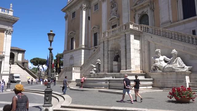 Rome, Piazza del Campidoglio, Roma Capitale, Fontana della Dea Roma.