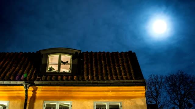 roof and moon time lapse - sweden bildbanksvideor och videomaterial från bakom kulisserna