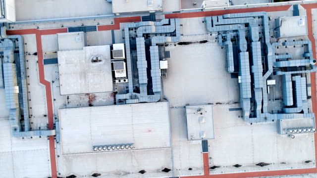 Roof of a large shopping center, ventilation and heating system video