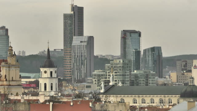 Roofs of  Vilnius. View of the modern and the medieval town video