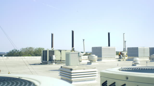 Rooftop with industrial Vents and AC Units video