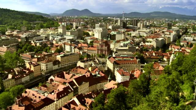 WS AERIAL Rooftops Of Ljubljana video