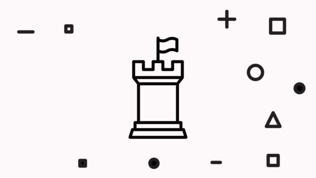 ладья значок анимация с альфа - замок средство безопасности стоковые видео и кадры b-roll