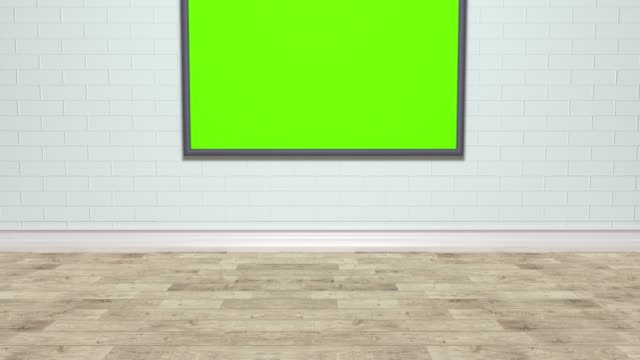 Room with LCD TV panel hanging on the wall. Isolated green background. Can also be a painting or a photograph in a frame.