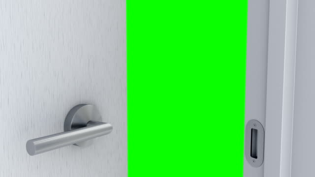 Room's door opening and green screen background chroma key behind video