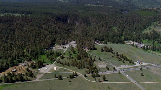 Roosevelt Lodge - Aerial View - Wyoming,  Park County,  helicopter filming,  aerial video,  cineflex,  establishing shot,  United States video
