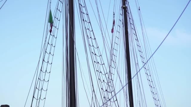 Ropes on the poles of the sailing ship Ropes on poles of wooden sailing ship mast sailing stock videos & royalty-free footage
