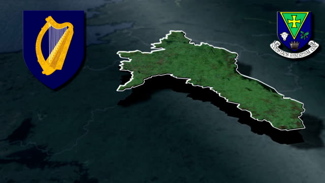 Roscommon white Coat of arms animation map video