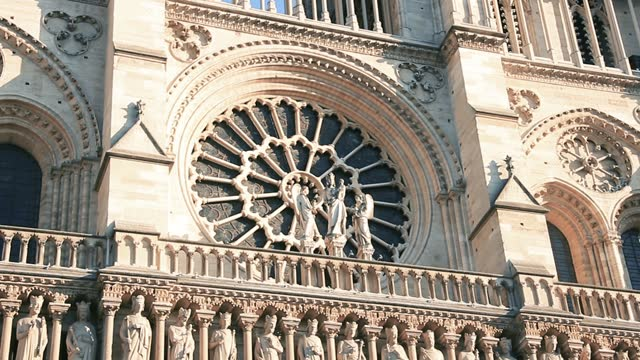 Rose Window of the Notre Dame Cathedral, Paris, Circa 2019, Before de Fire.