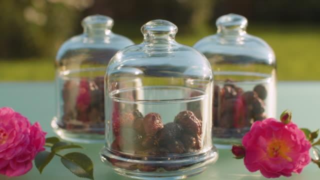 ガラス瓶のローズヒップベリー - イヌバラ点の映像素材/bロール
