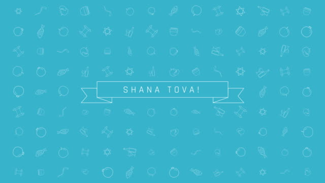 rosh hashanah holiday flat design animation background with traditional outline icon symbols and english text - rosh hashana стоковые видео и кадры b-roll