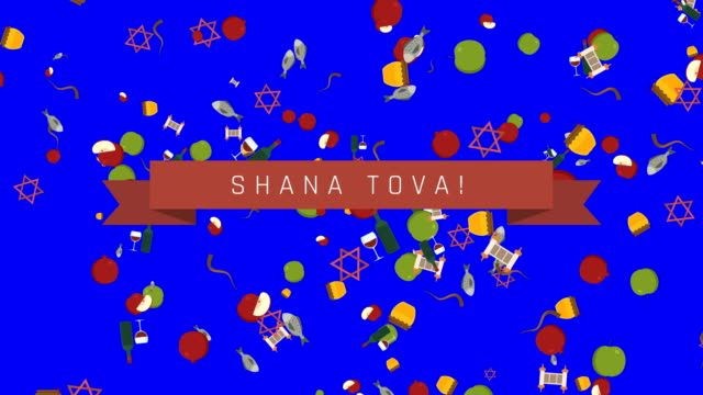 rosh hashanah holiday flat design animation background with traditional symbols and english text - rosh hashanah filmów i materiałów b-roll