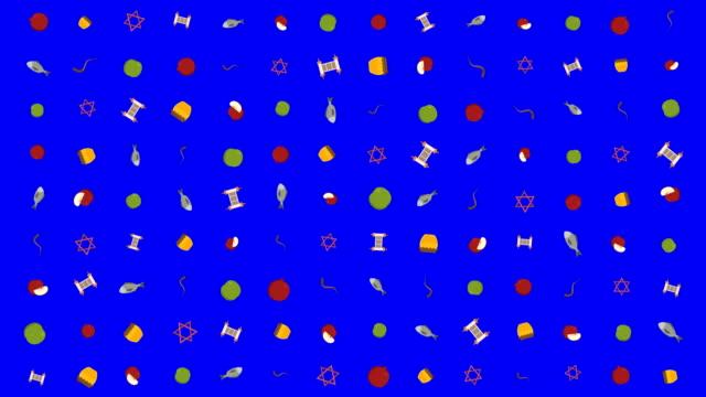 rosh hashanah holiday flat design animation background with traditional symbols - rosh hashana стоковые видео и кадры b-roll
