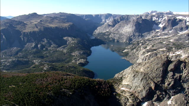 Ross Lake  - Aerial View - Wyoming,  Fremont County,  helicopter filming,  aerial video,  cineflex,  establishing shot,  United States video