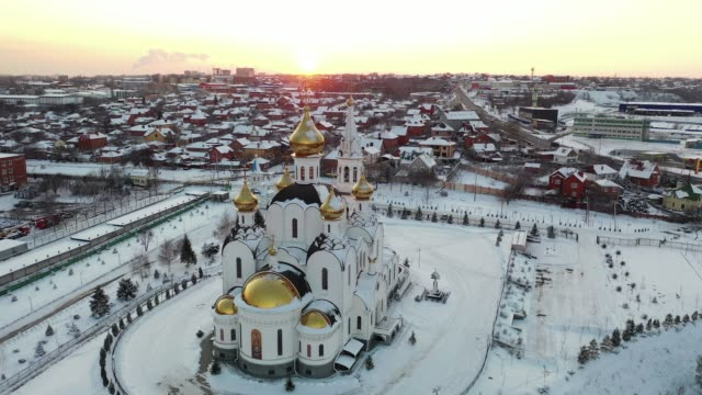 rostov-on-don, church of the life-giving trinity in holy iversky nunnery. aerial view - jesus christ filmów i materiałów b-roll