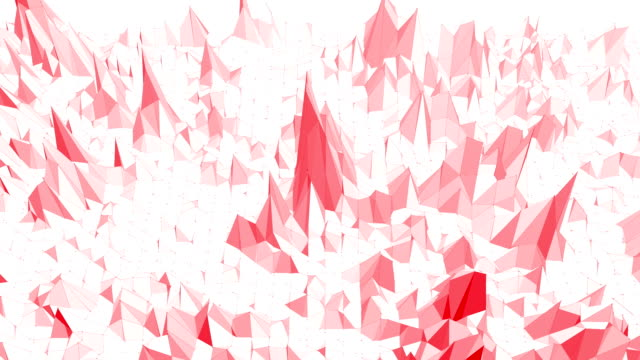 Rosy or pink low poly surface as landscape or chemical structure. Polygonal digital mosaic red environment or background in cartoon low poly popular modern stylish 3D design. video