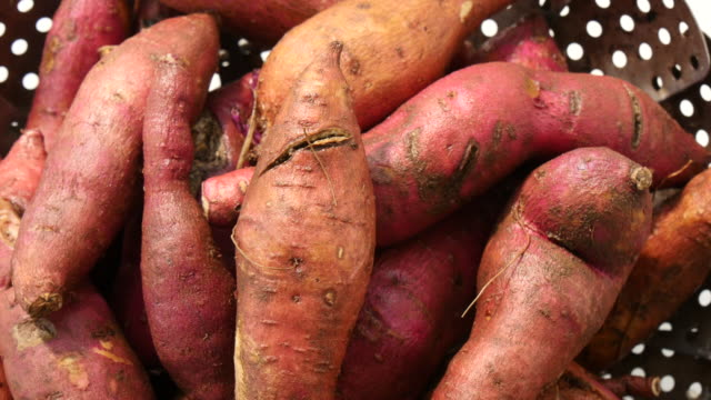 Rotate fresh sweet potatoes Rotate fresh sweet potatoes raw footage stock videos & royalty-free footage