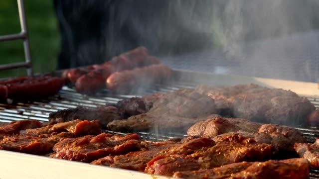 vídeos de stock, filmes e b-roll de gire carne em uma grelha de churrasco - clipe