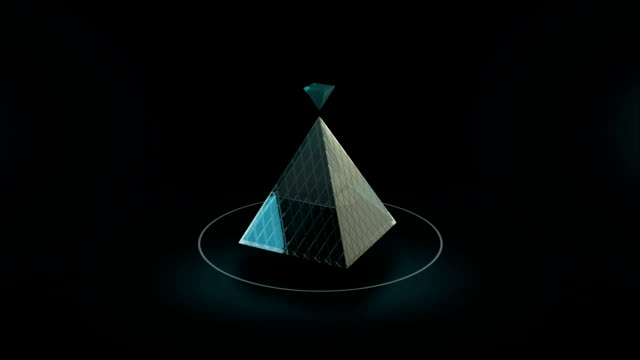 Rotate of abstract glass pyramid 3d animation video