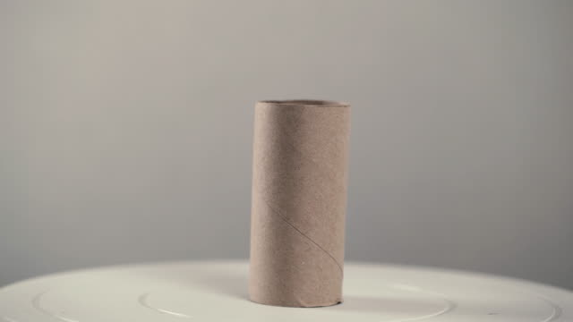 rotate the short tissue axis. it is a two-sided brown core of toilet paper. - rotolo video stock e b–roll