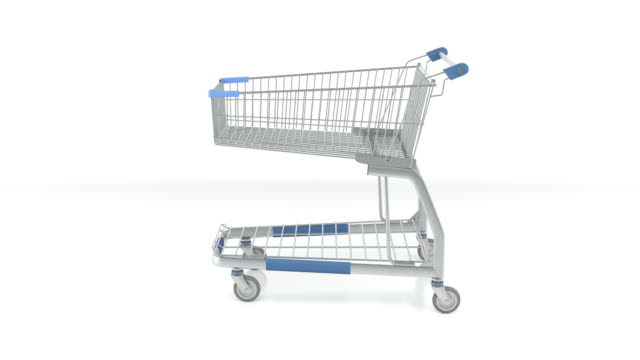 Rotated Shopping Cart On White Background