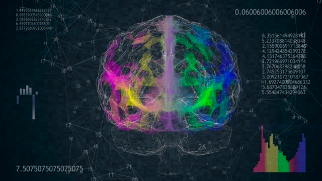 Rotating 360 low polygonal brain 3D model on black background with animated numbers and diagrams. 4k animation
