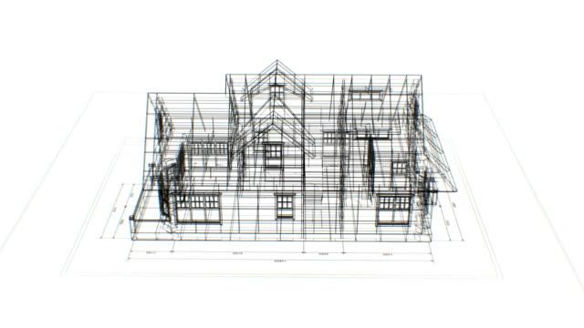 Rotierende 3D-Blaupause von abstrakten Cottage auf Engineering Plan nahtlos auf weißem Hintergrund. Looped 3d Animation von abstrakten Haus Blaupause. Bau-Business-Konzept. – Video
