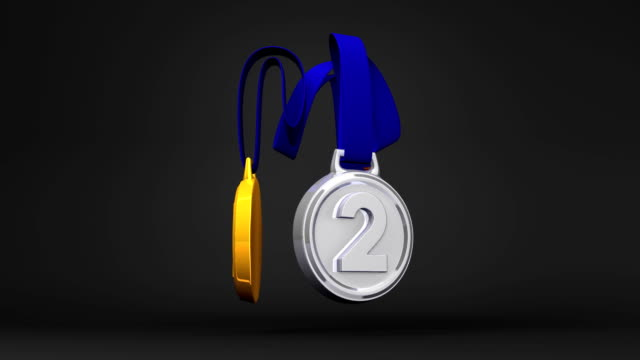 Rotating 3Medals On Black Background video