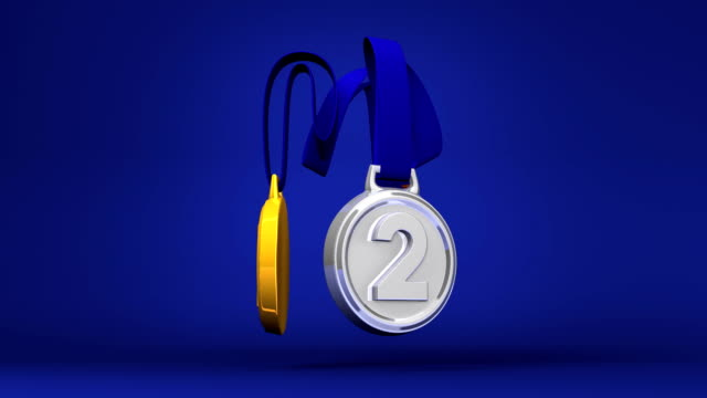 Rotating 3Medals On Blue Background video