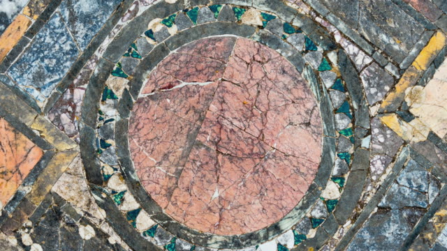 Rotating ancient Roman marble floor, Rome, Italy