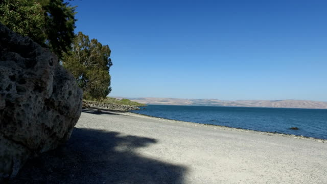 Rotating Around boulder at Sea of Galilee video
