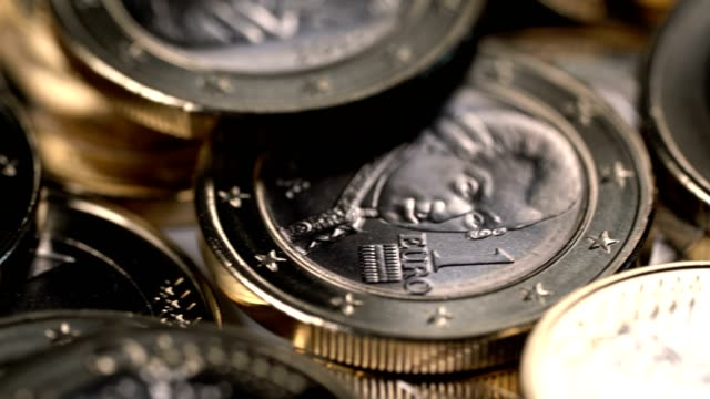 rotating background of one euro coins video