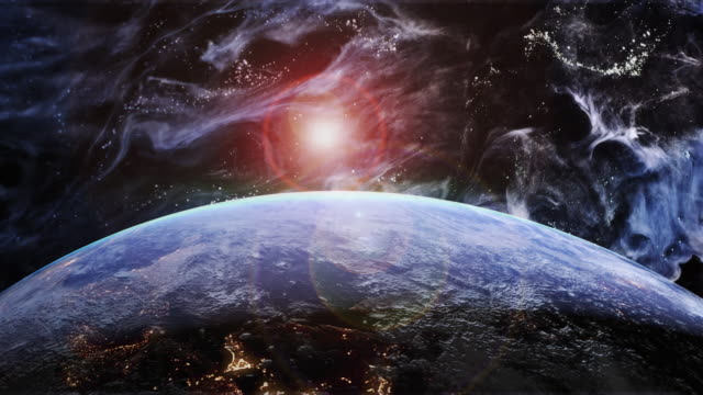 Rotating Blue Earth in a Futuristic Blue Universe