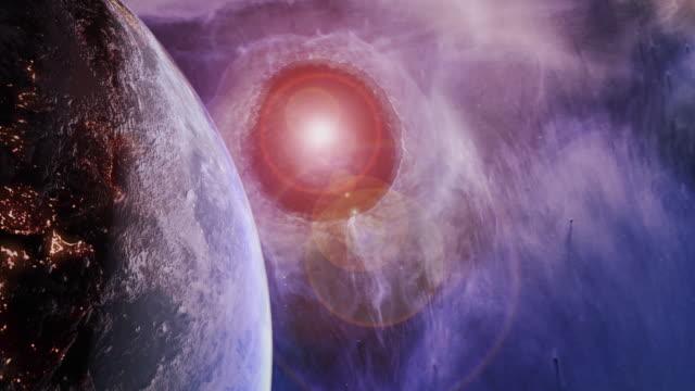Rotating Blue Earth in a Futuristic Purple Universe