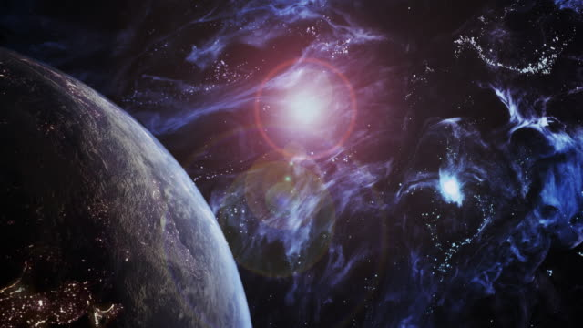 Rotating Blue Earth in a Futuristic Universe