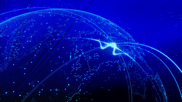 Rotating blue planet with moving lights able loop seamless