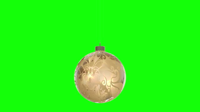 Rotating christmas ball, represents Merry Christmas. Seamless loop, isolated greenbox alpha background 4K stock video