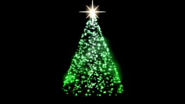 Rotating Christmas Tree Animation - Loop Green video