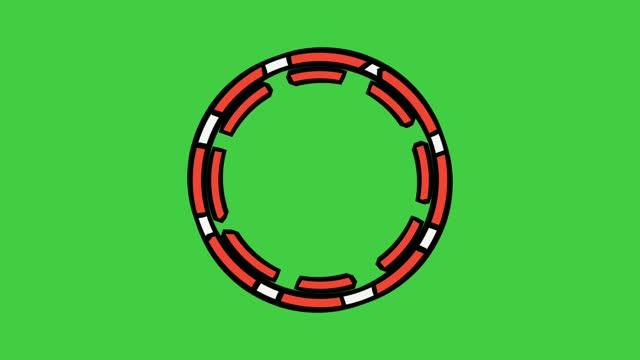 Rotating circle border animation on green screen. chroma key,
