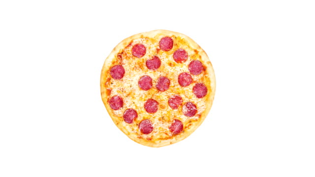 Rotating classic pepperoni pizzai isolated on a white background. Top view video
