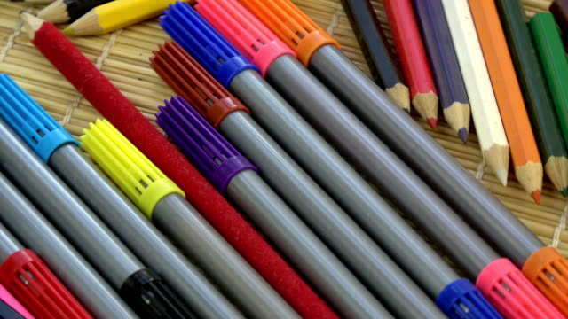 Rotating colorful pencils and felt-tips video