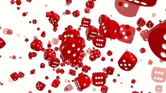 Rotating dice in red color on white video