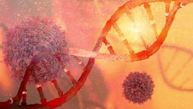 vídeos y material grabado en eventos de stock de rotación de adn genética ingeniería mutaciones genéticas trastorno dna filamento de la dna y concepto de investigación de oncología de célula de cáncer - biología