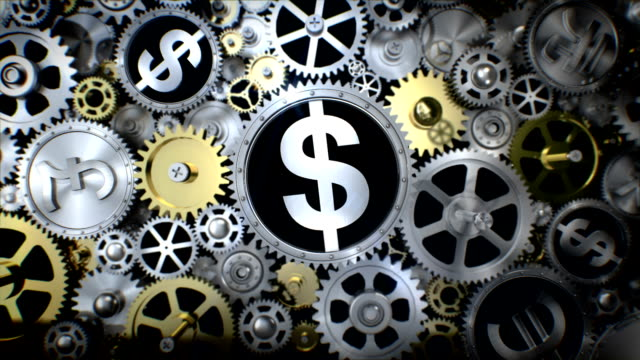 Rotating Dollar currency in gear unit with various currency sign. video