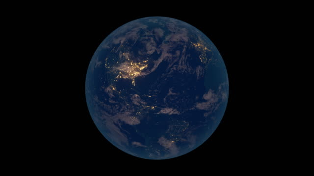 Rotating Earth at night (North America view) video