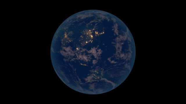 Rotating Earth at night (Asia view) video