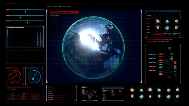 Rotating earth, expanding social network service in digital display panel. video