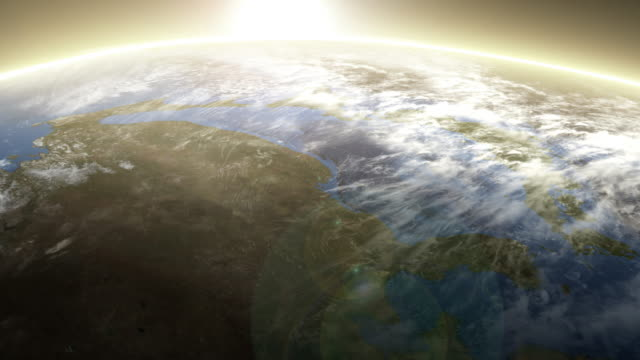 Rotating Earth from Space. Sunrise image above Asia. video